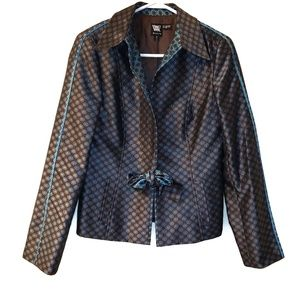 Worth Brown and Blue Blazer with Tie Closure